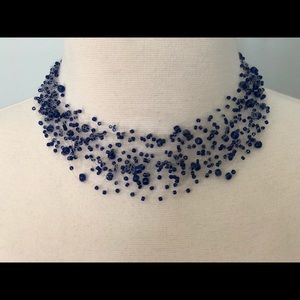 Necklace choker made of blue beets